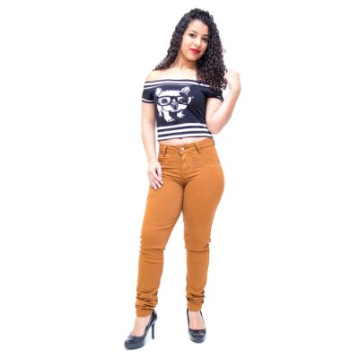 Calça Jeans Feminina Cambos Skinny Heloina Caramelo