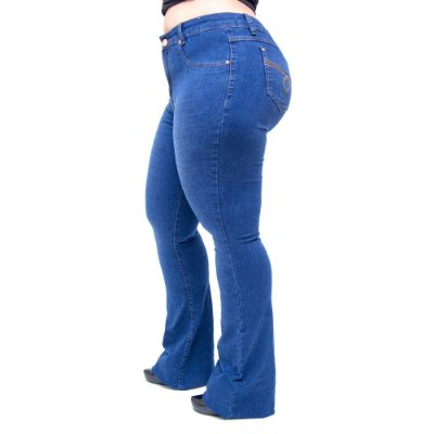 Calça Jeans Cambos Plus Size Flare Joilma Azul