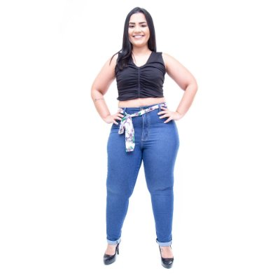 Calça Jeans Cambos Plus Size Skinny Dhaiani Azul
