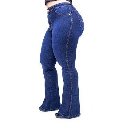 Calça Jeans Cheris Plus Size Flare Edilena Azul