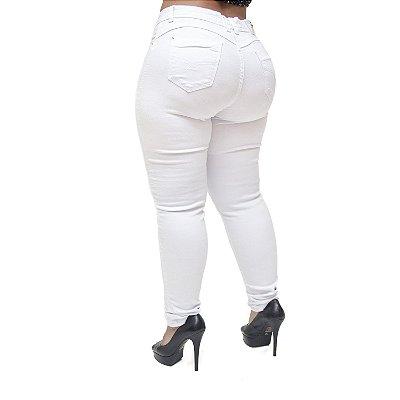 Calça Jeans Cheris Plus Size Skinny Waldelice Branca