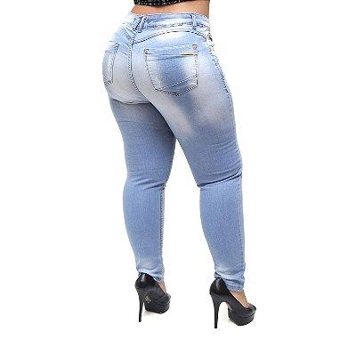 Calça Jeans Xtra Charmy Plus Size Skinny Tayse Azul
