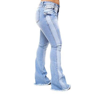 Calça Jeans Deerf Flare Rasgadinha Williana Azul