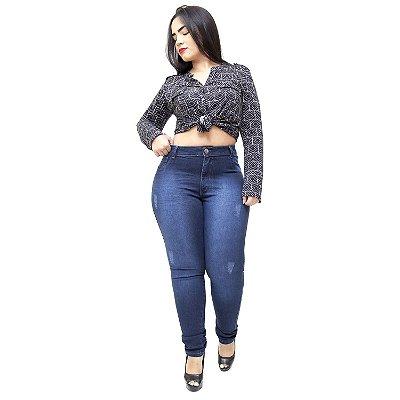 Calça Jeans Helix Plus Size Skinny Aneia Azul