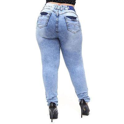 Calça Jeans Cheris Plus Size Skinny Manchada Julie Azul