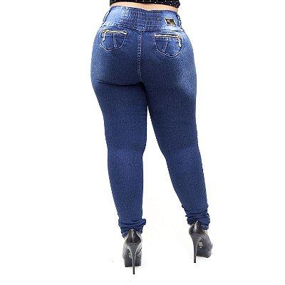 Calça Jeans Helix Plus Size Skinny com Elástico Ozeni Azul