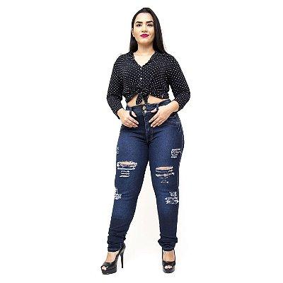 Calça Jeans Cheris Plus Size Skinny Rasgadinha Kelma Azul