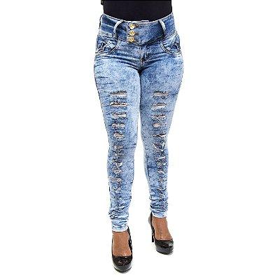 Calça Feminina Jeans Manchada Rasgadinha Credencial