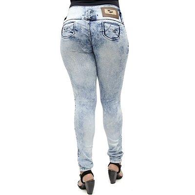 Calça Jeans Feminina Helix Lavagem Marmorizada Levanta Bumbum