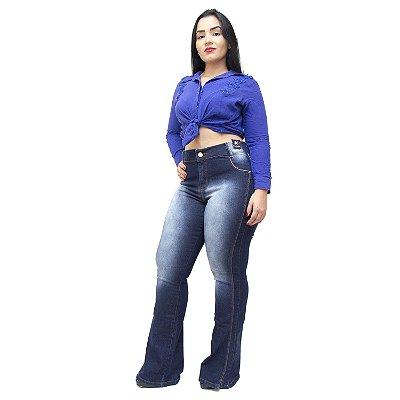 Calça Jeans Credencial Plus Size Flare Lucivalnia Azul