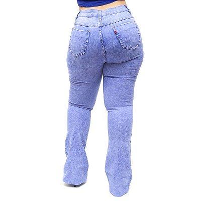 f902b12c21 Calça Jeans Feminina Cambos Plus Size Flare Jeruza Azul