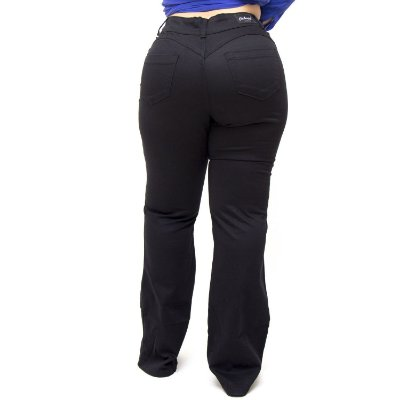 Calça Jeans Credencial Plus Size Flare Jessiane Preta