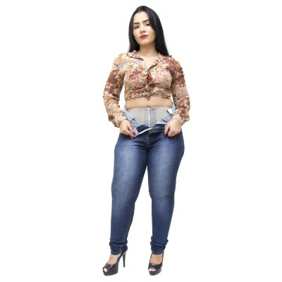 Calça Jeans Xtra Charmy Plus Size Hot Pants Skinny Samela Azul