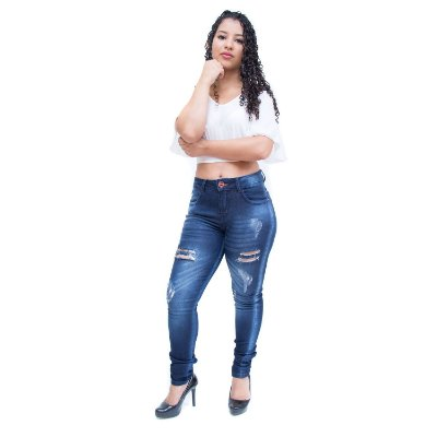 Calça Jeans Feminina W. Pink Skinny Rasgadinha Maise Azul