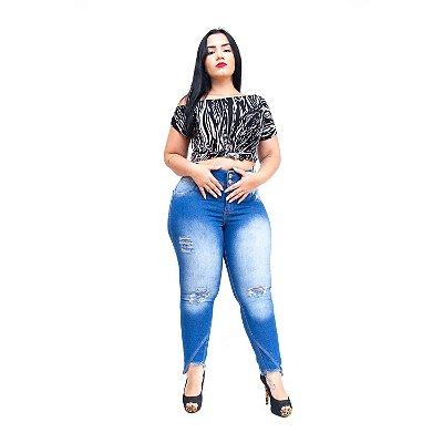 Calça Jeans Credencial Plus Size Skinny Rasgadinha Rediny Azul