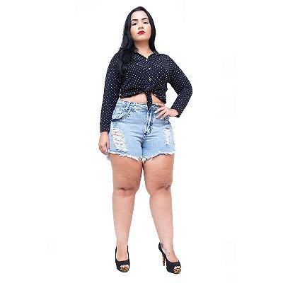 Shorts Jeans 23 Graus Plus Size Rasgadinho Lucilania Azul