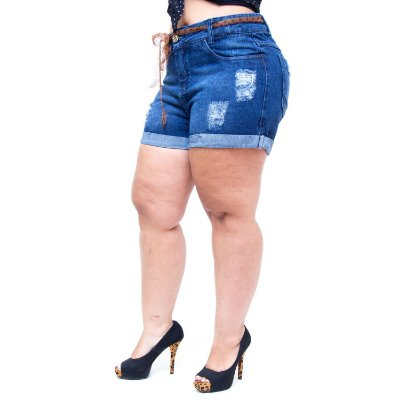 Shorts Jeans 23 Graus Plus Size Rasgadinho Gilcelene Azul