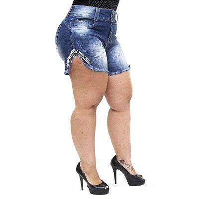 Shorts Jeans Xtra Charmy Plus Size Daziele Azul