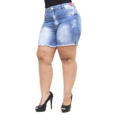 Shorts Jeans Feminino Bokker Plus Size Samel Azul