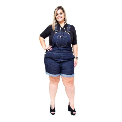 Macaquinho Jeans Feminino Xtra Charmy Plus Size Mirdes Azul