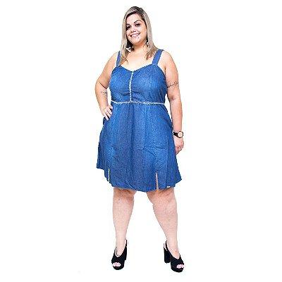 Vestido Jeans Feminino Brunfer Plus Size Elenice Azul