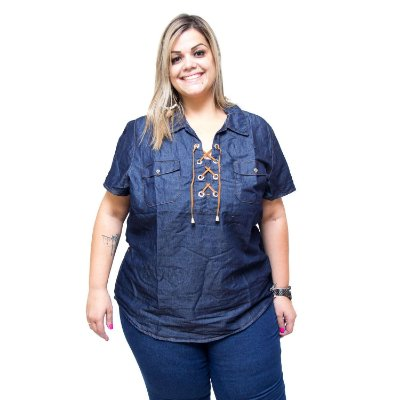 Camisete Jeans Feminina Cambos Plus Size Soliana Azul