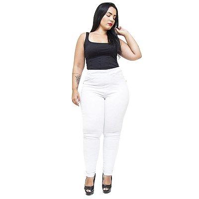 Calça Jeans Feminina Cambos Plus Size Skinny Ingrite Branca