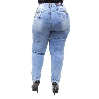 Calça Jeans Feminina Latitude Plus Size Sulamitha Azul