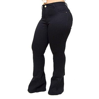 Calça Jeans Feminina Cheris Plus Size Maiani Preta