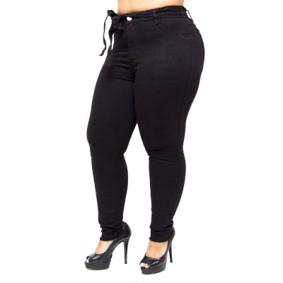 Calça Jeans Feminina Cambos Plus Size Fyama Preta