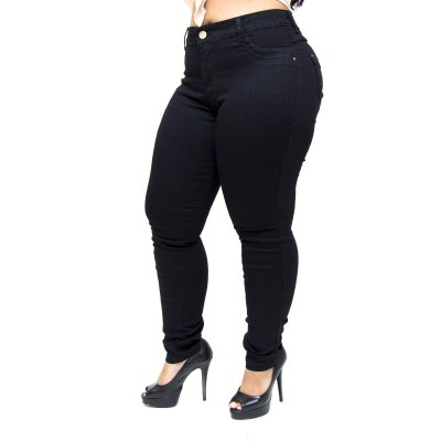 Calça Jeans Feminina Thomix Plus Size Kethilen Preta