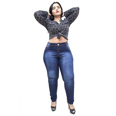 Calça Jeans Feminina Credencial Plus Size Skinny Ariel Azul