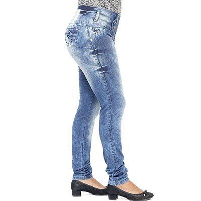 Calça Jeans Legging Feminina Deerf Manchada Levanta Bumbum