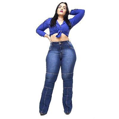 Calça Jeans Credencial Plus Size Flare Lemiris Azul