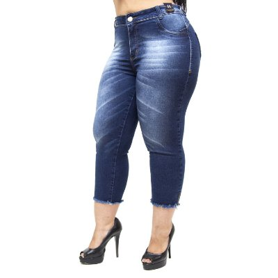 Calça Jeans Credencial Plus Size Cropped Alina Azul