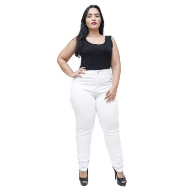 Calça Jeans Feminina Cheris Plus Size Skinny Maini Branca