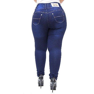 Calça Jeans Feminina Hevox Plus Size Skinny Luannie Azul
