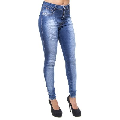 Calça Jeans Credencial Skinny Hot Pants Tatielli Azul