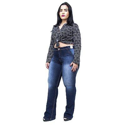 Calça Jeans Credencial Plus Size Flare Cleomarice Azul