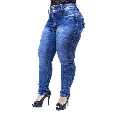 Calça Jeans Latitude Plus Size Skinny Dioceny Azul