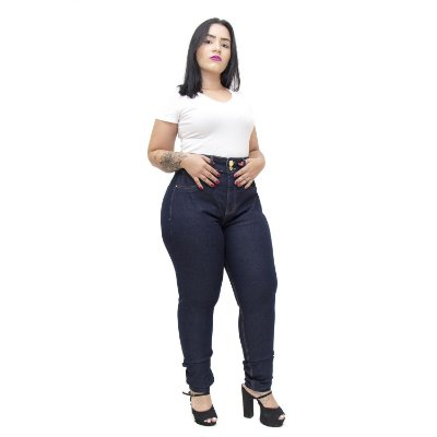 Calça Jeans Xtra Charmy Plus Size Skinny Gleyceany Azul