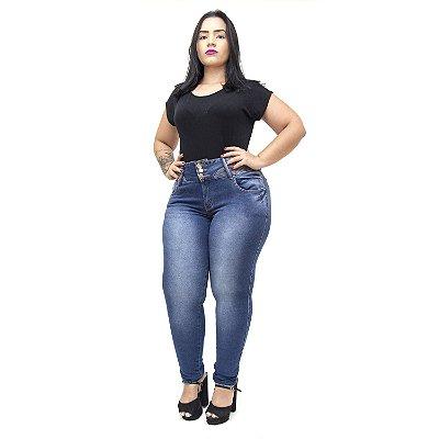 Calça Jeans Xtra Charmy Plus Size Skinny Elizanja Azul