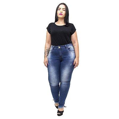 Calça Jeans Xtra Charmy Plus Size Cigarrete Djenani Azul