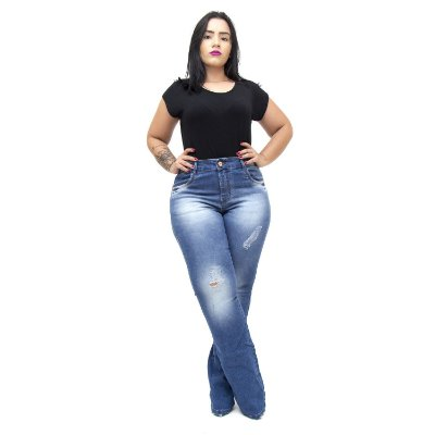Calça Jeans Xtra Charmy Plus Size Flare Rosenia Azul