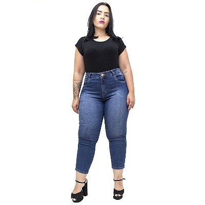 Calça Jeans Feminina Unison Plus Size Cropped Neusivan Azul