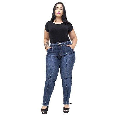Calça Jeans Feminina Unison Plus Size Cigarrete Savana Azul