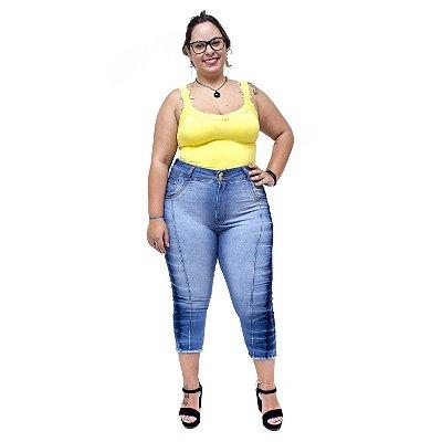 Calça Jeans Feminina Latitude Plus Size Cropped Joselice Azul