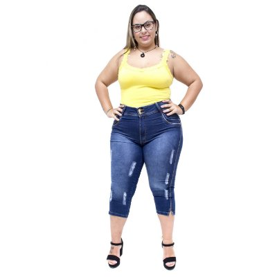 Calça Jeans Latitude Plus Size Cropped Mikellyn Azul