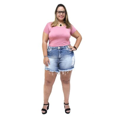 Shorts Jeans 23 Graus Plus Size Rasgadinho Eleydiane Azul
