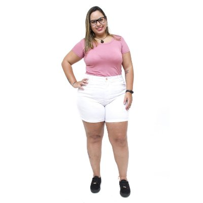 Shorts Jeans Feminino Xtra Charmy Plus Size Celizara Branco